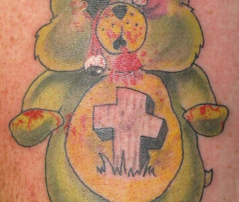Bleeding green bear tattoo design