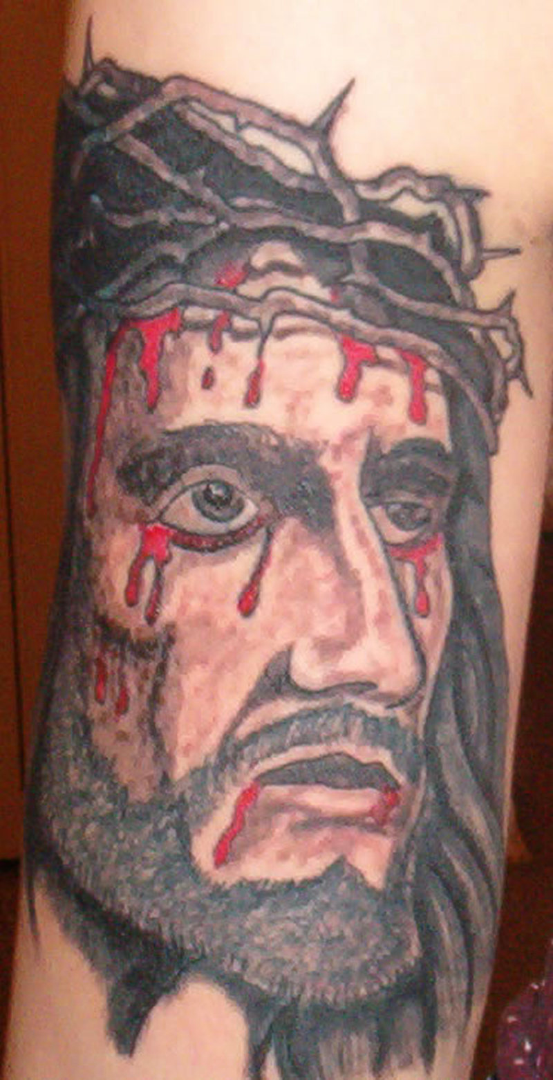 Bleeding head tattoo of jesus