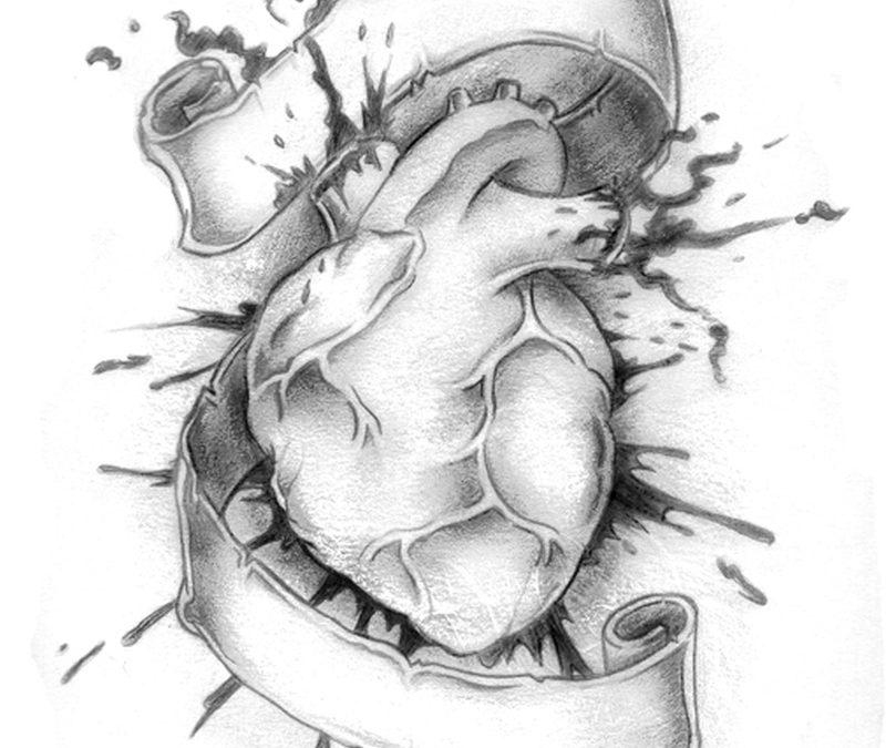 Bleeding human heart tattoo design with banner