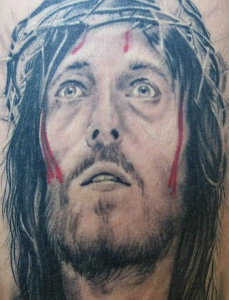 bleeding jesus portrait tattoo design 4 tattoos book. Black Bedroom Furniture Sets. Home Design Ideas
