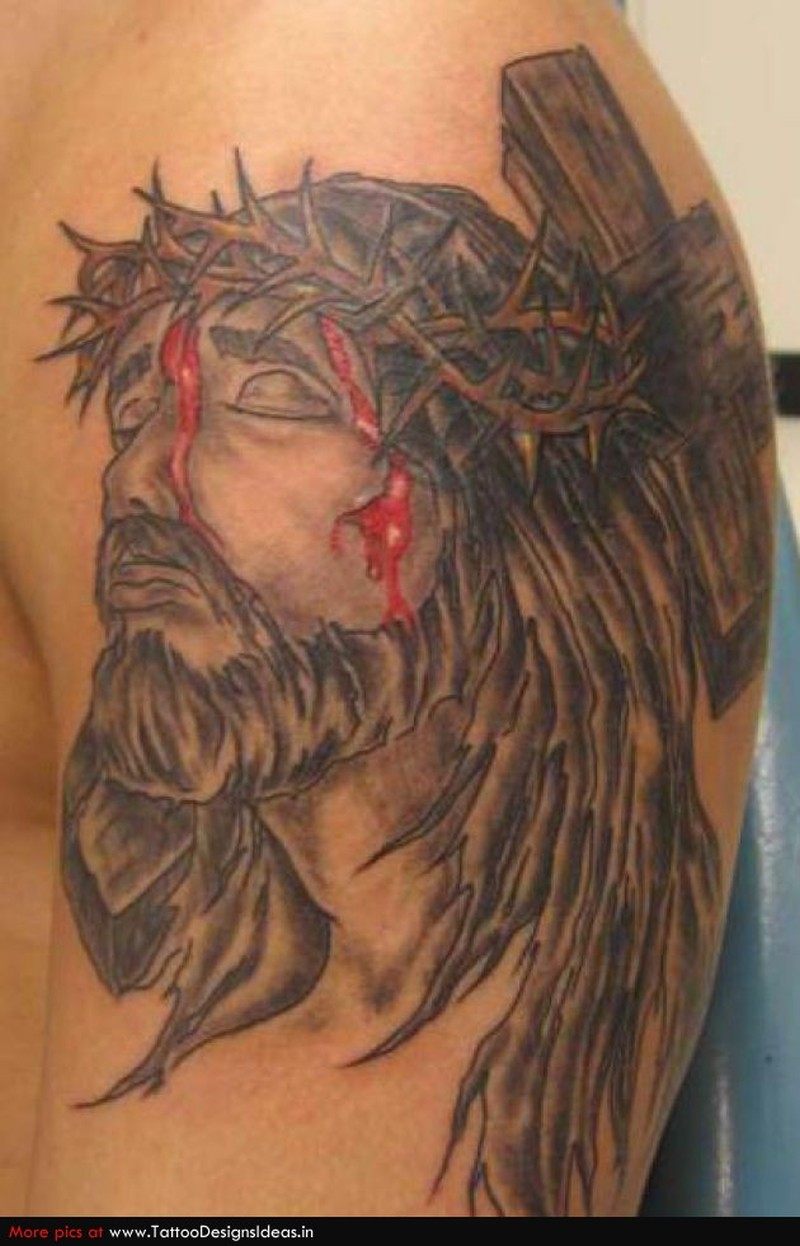 Bleeding jesus tattoo design
