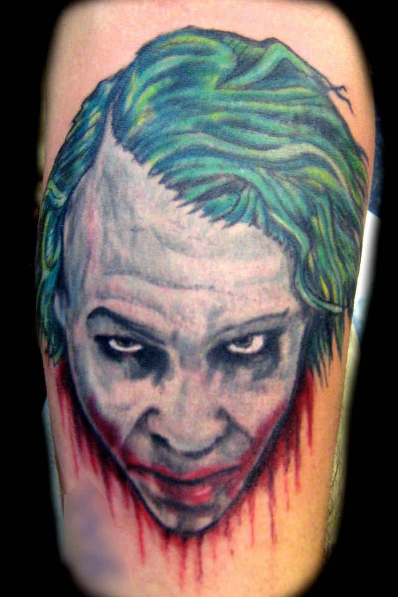 Bleeding joker head tattoo design