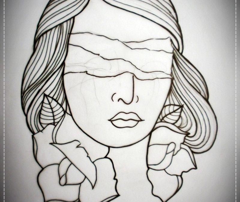 Blind girl outline tattoo flash