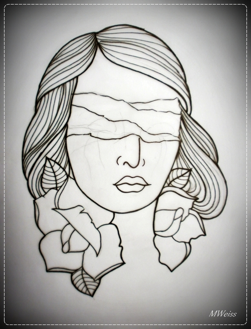 Blind girl outline tattoo flash