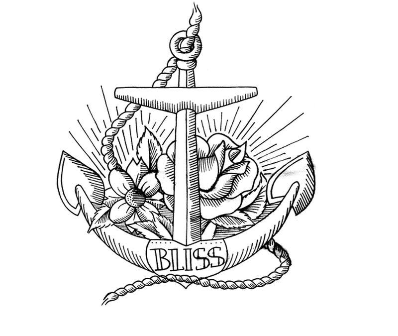 Bliss anchor tattoo design