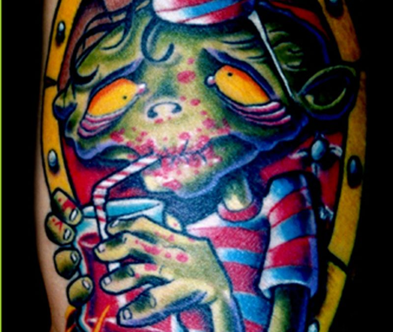 Blood drinker zombie in coffin tattoo design