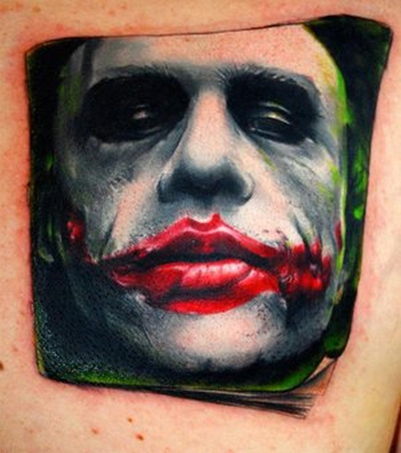 Bloody lips joker tattoo design