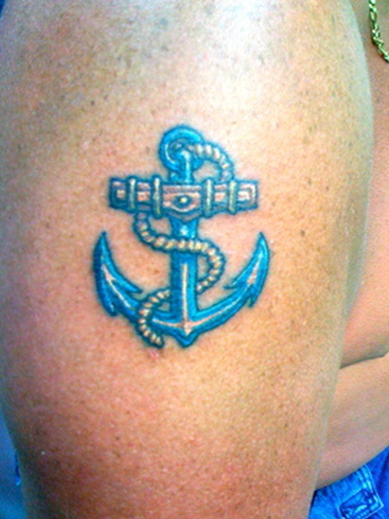 Blue anchor tattoo design