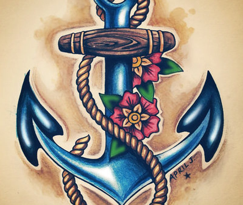 Blue anchor tattoo with flowers rope