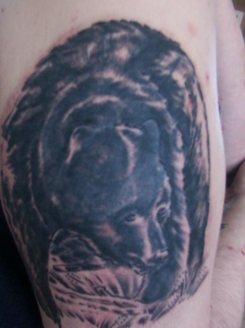 Blue bear tattoo