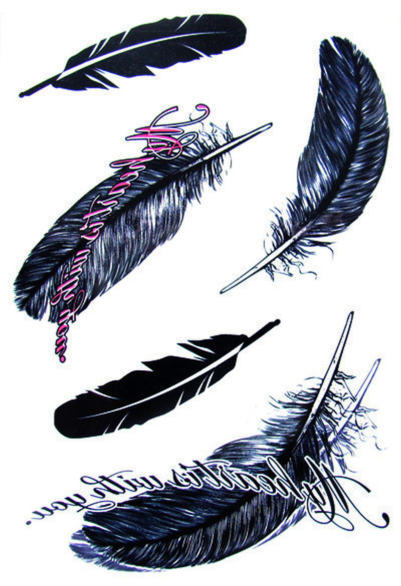 Blue black feather tattoo designs