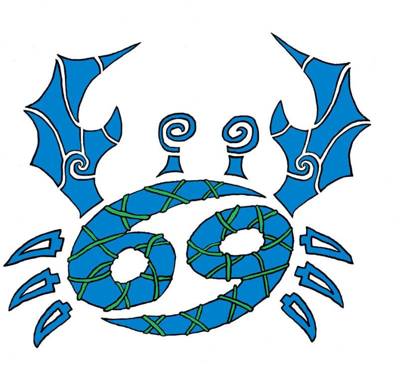 Blue cancer tattoo design