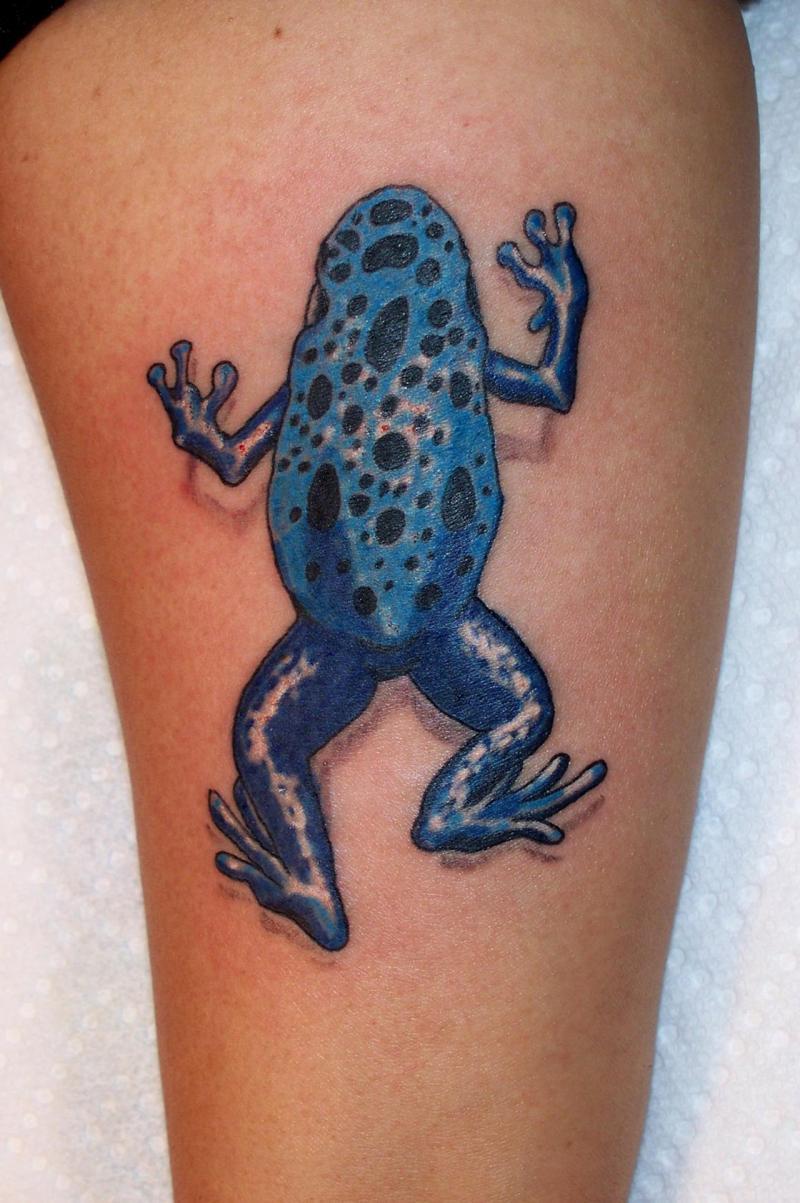 Blue dart frog tattoo design