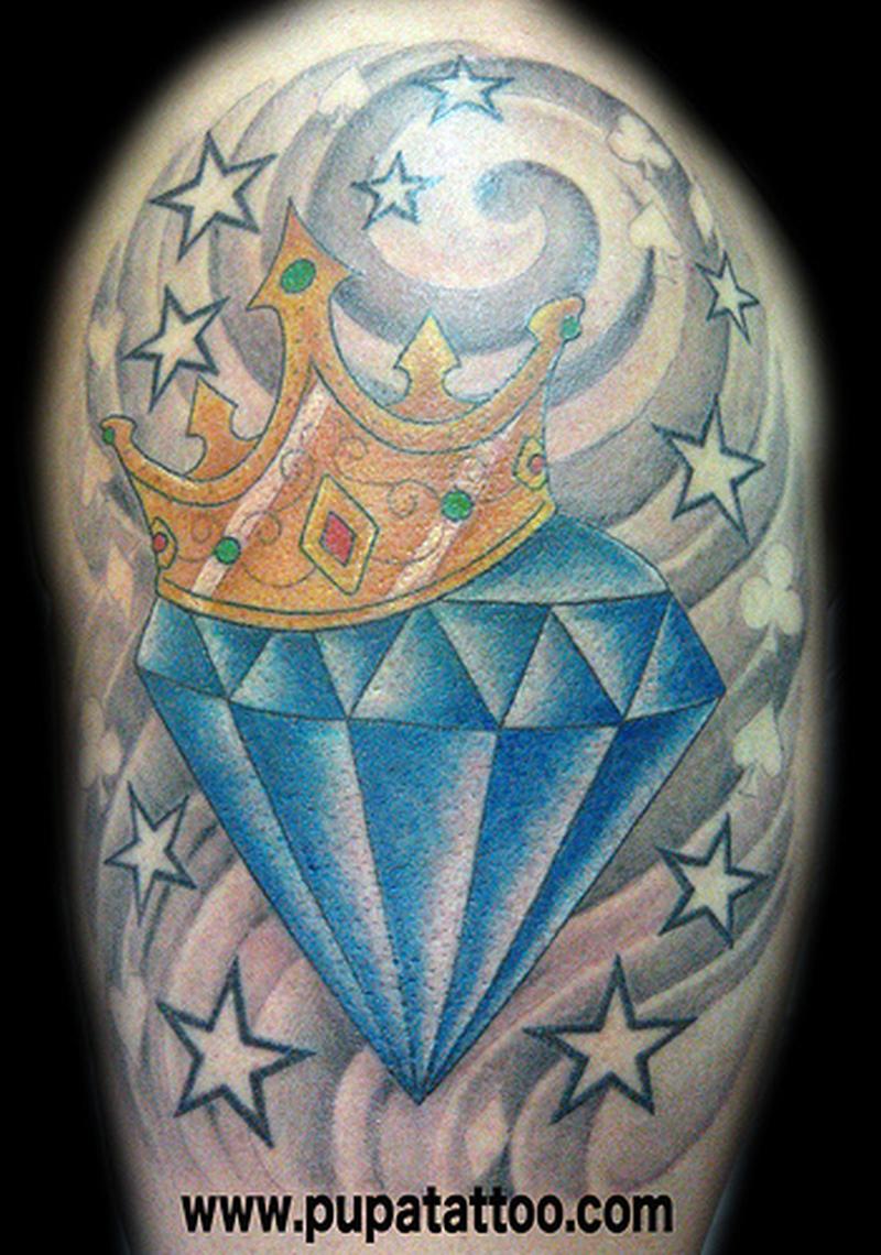 Blue diamond crown n stars tattoo design