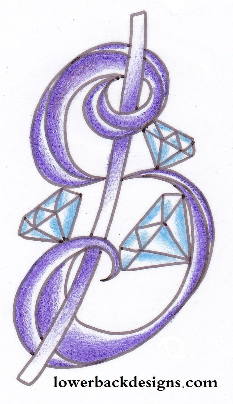 Blue diamond tattoo designs for lower back