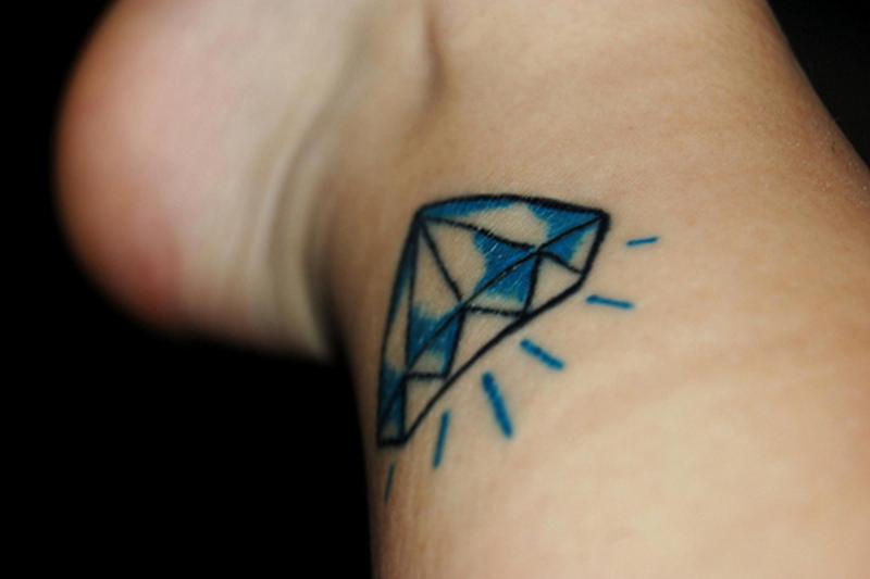 Blue diamond tattoo on ankle 2