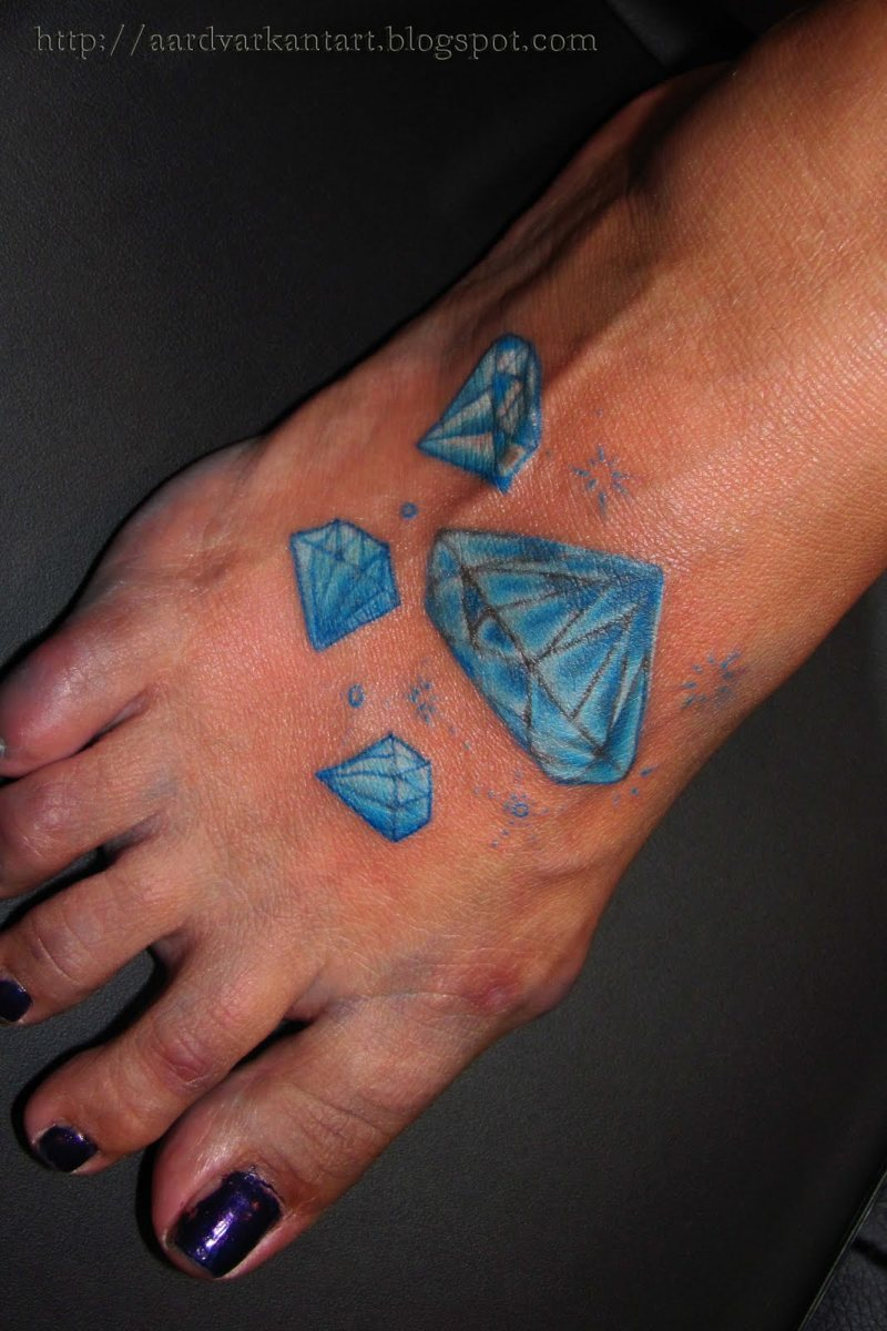 Blue diamonds tattoo for foot