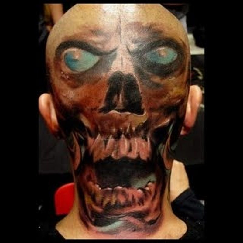 9d545af9b Blue eyed skull tattoo on back of head - Tattoos Book - 65.000 ...