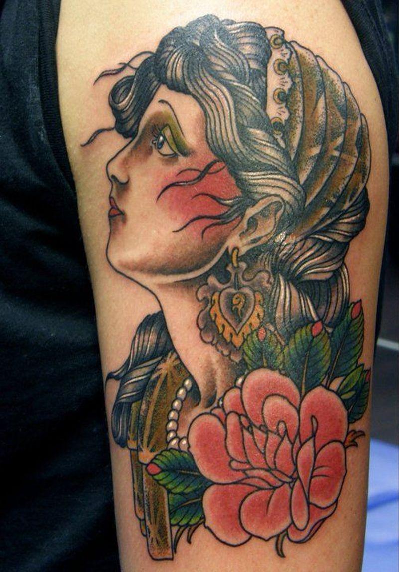 Blue eyes gypsy head tattoo design
