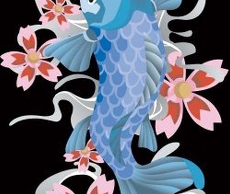 Blue fish tattoo on black background