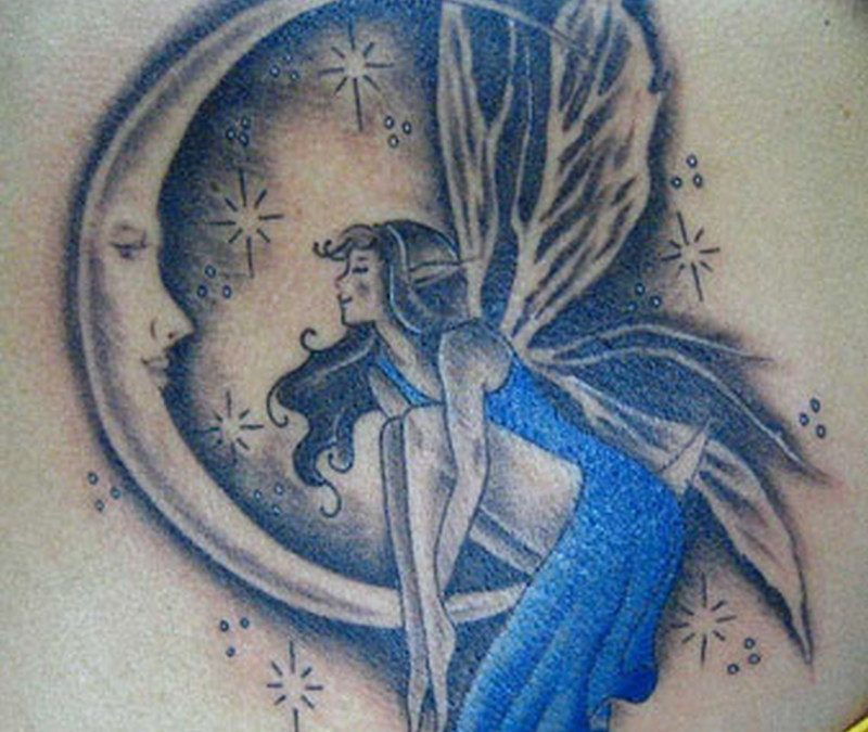Blue ink angel girl tattoo design