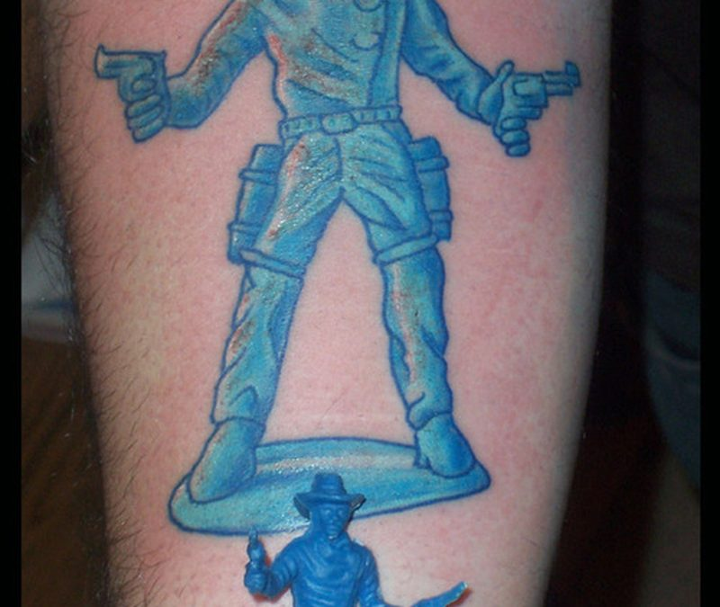 Blue ink cowboy skull tattoo image