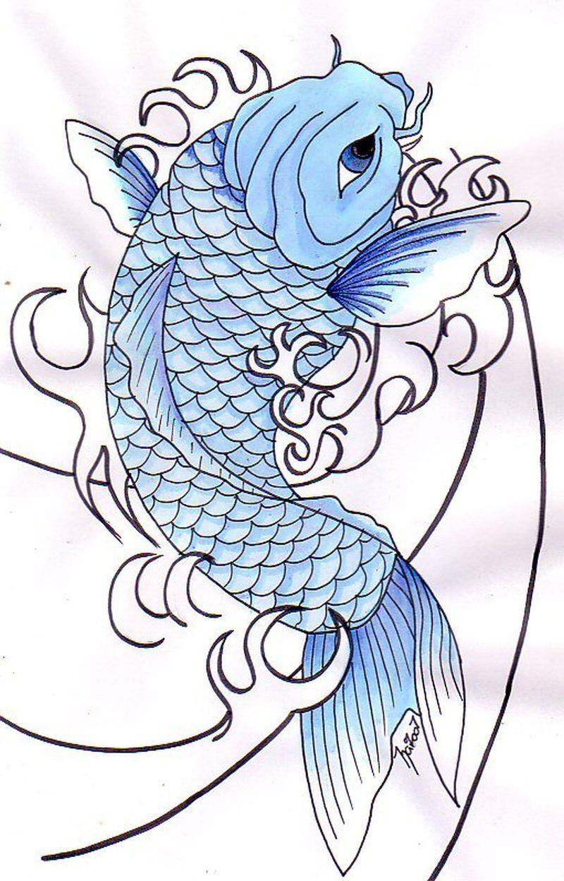 Blue koi fish tattoo design