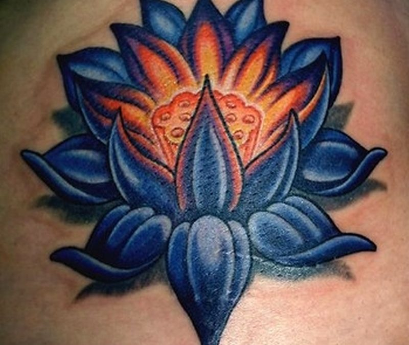 Blue lotus flower tattoo design