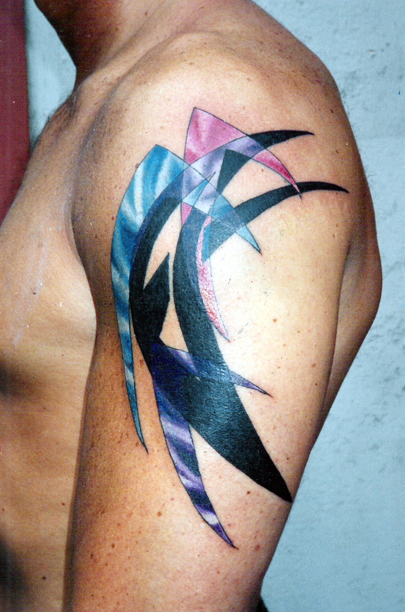 blue pink purple abstract upper arm tattoo tattoos book. Black Bedroom Furniture Sets. Home Design Ideas
