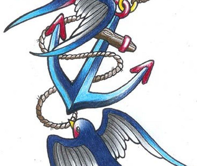 Blue swallow anchor tattoo design