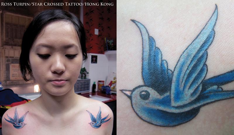 Blue swallows birds tattoo on both shoulder