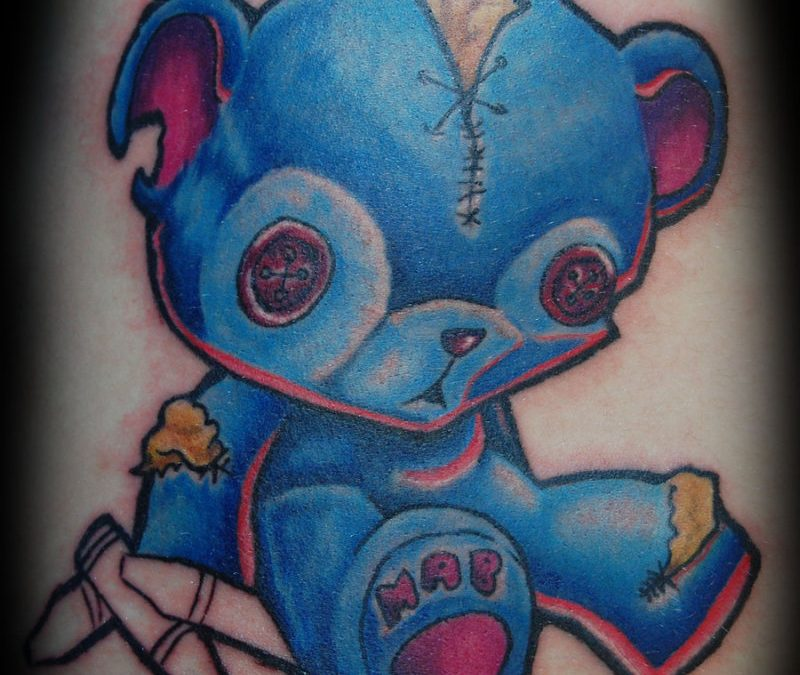 Blue teddy bear tattoo design