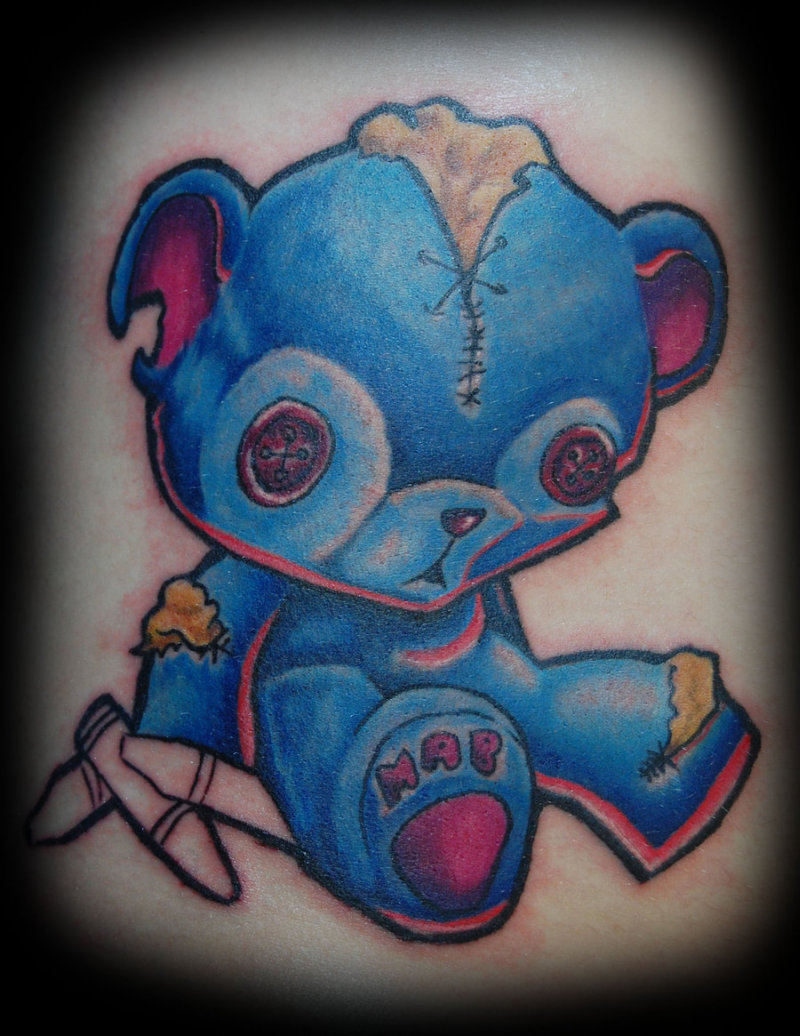 blue teddy bear tattoo design tattoos book. Black Bedroom Furniture Sets. Home Design Ideas