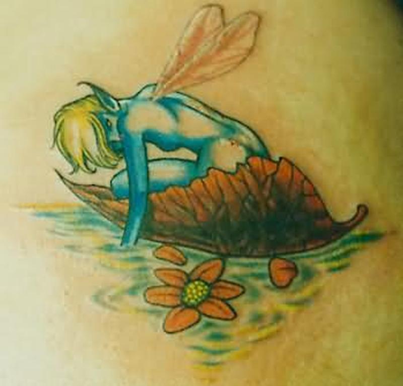 Bluish little angel fantasy tattoo