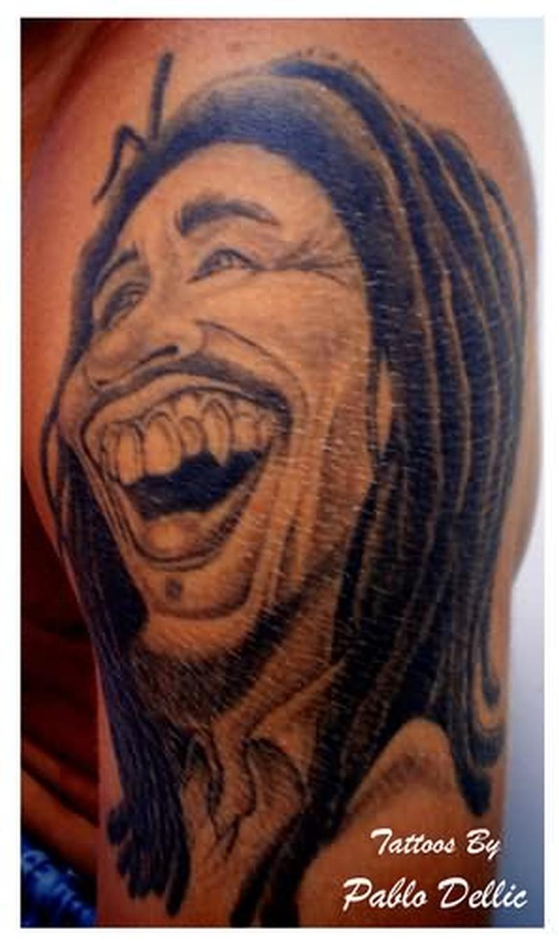 Bob marley cartoon tattoo