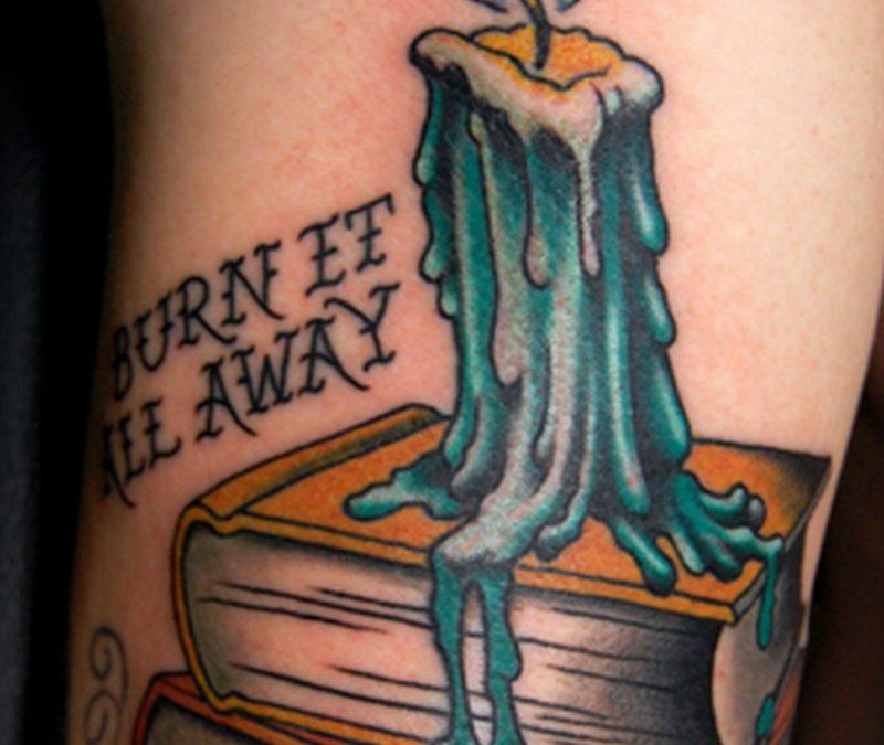 Books candle tattoo design