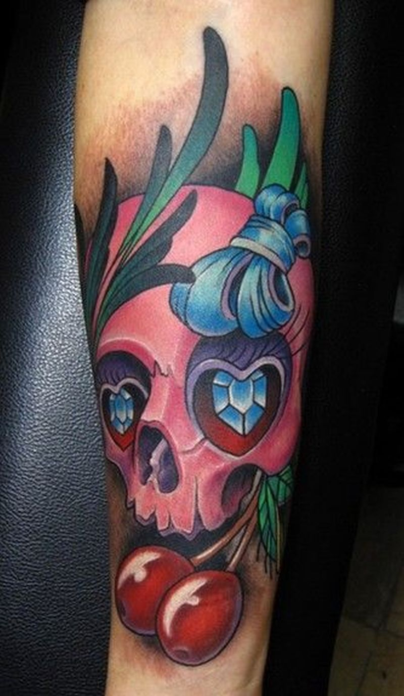 Bow skull with cherries tattoo design