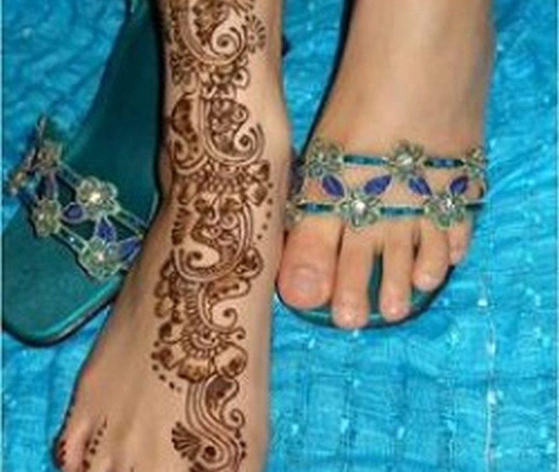 Bridal henna tattoo design on foot