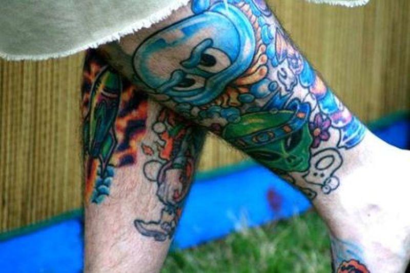 Bright alien tattoo