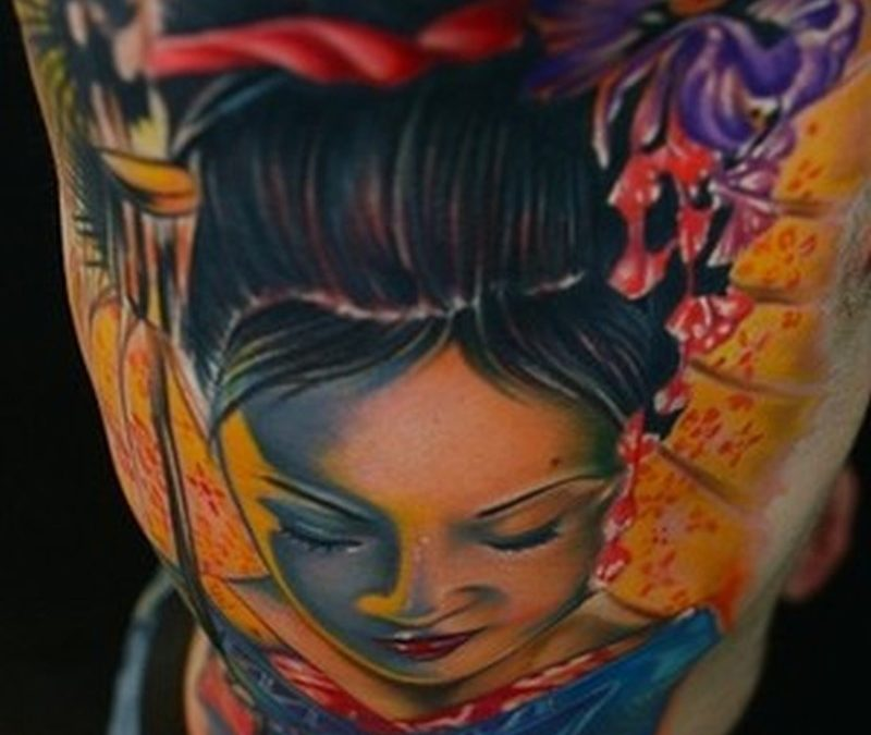 Bright geisha tattoo design