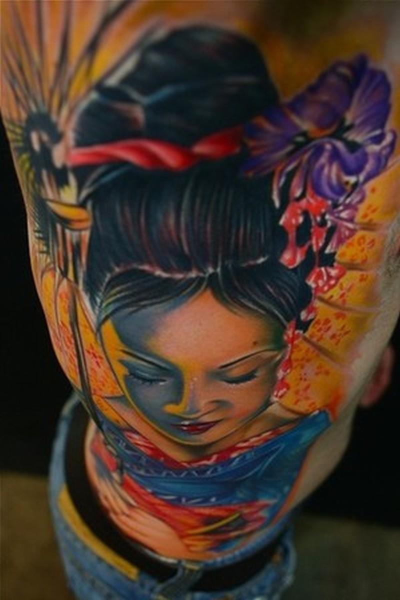Bright geisha tattoo design