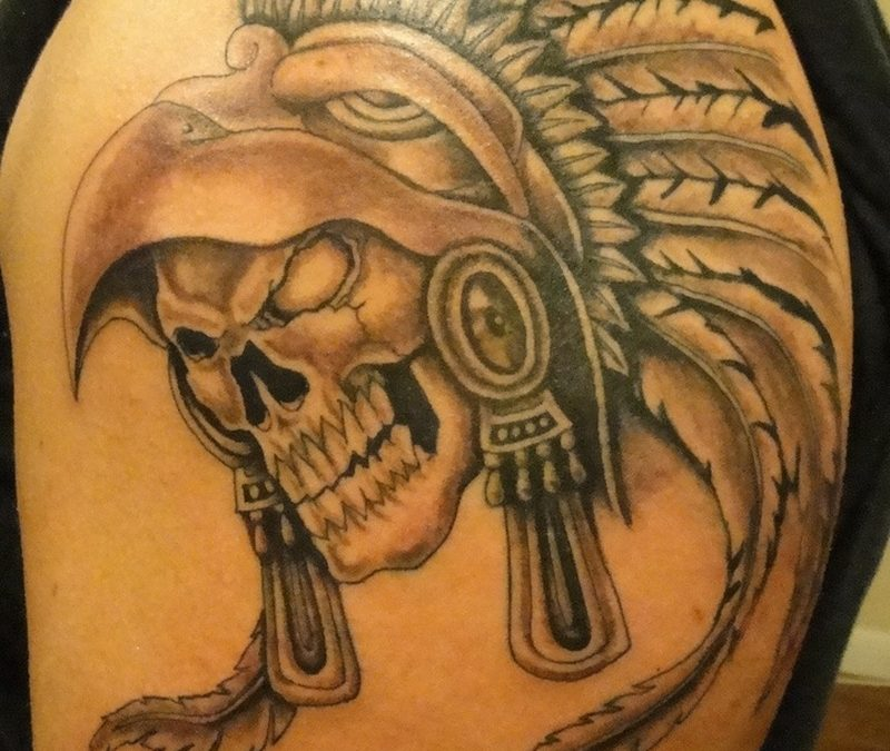 Brilliant aztec skull tattoo