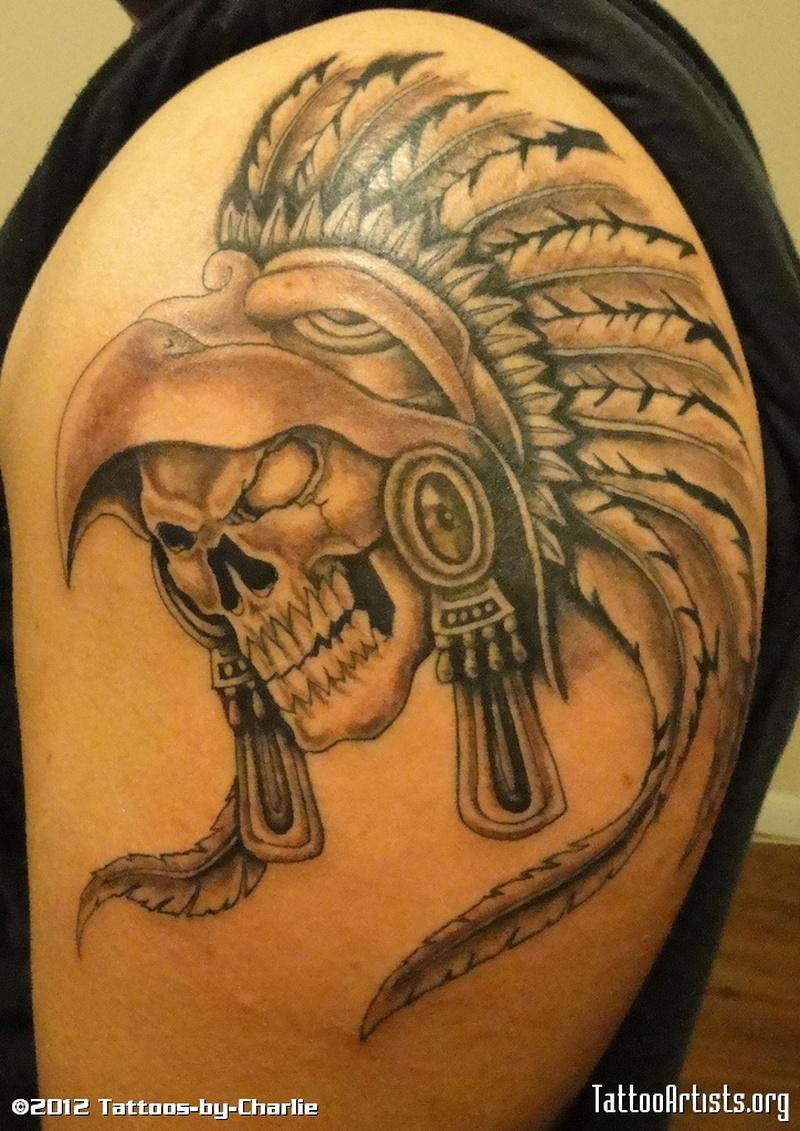 Brilliant aztec skull tattoo
