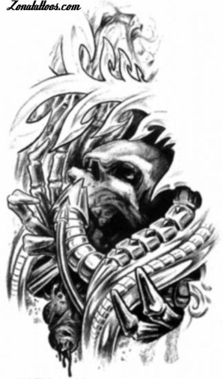Brilliant tattoo design of biomechanical skull