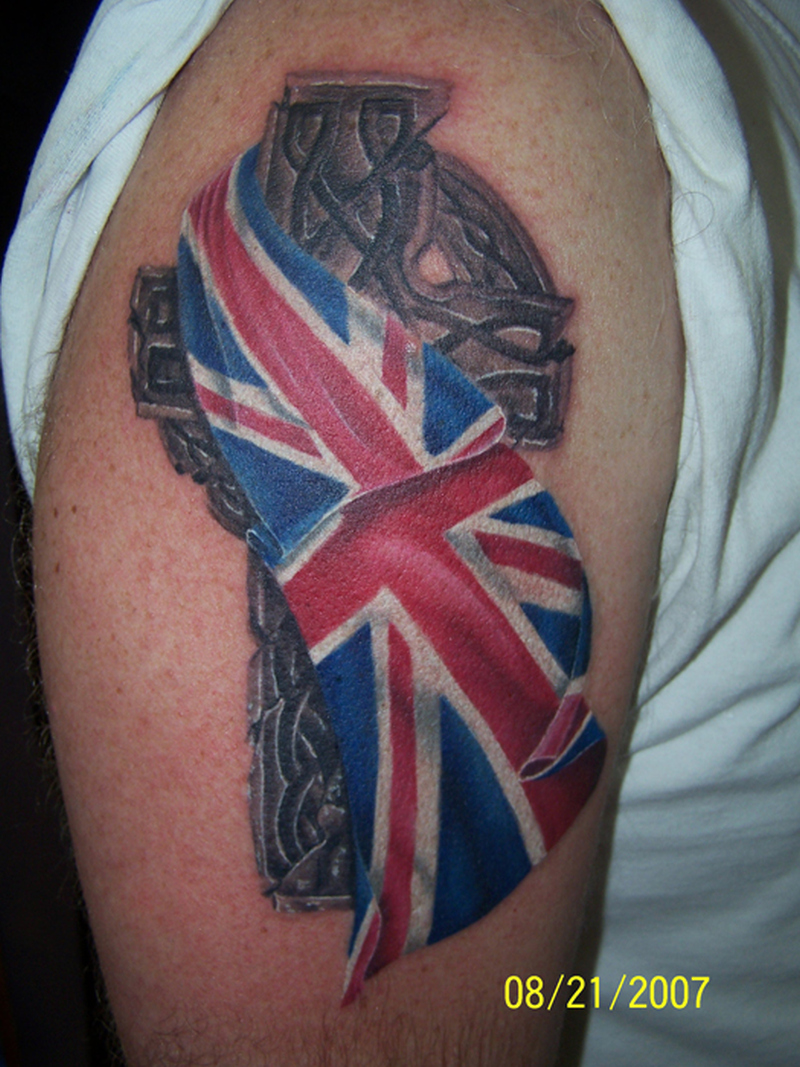 British flag tattoo on shoulder