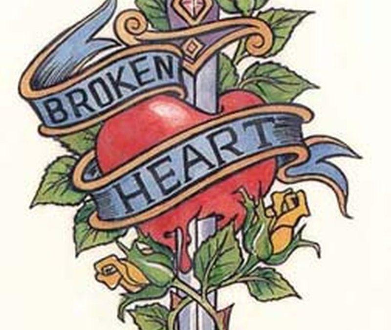 Broken heart dagger tattoo design