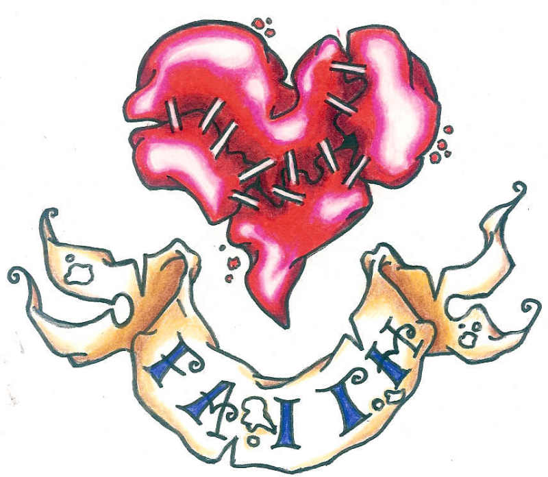 Broken heart with banner tattoo design