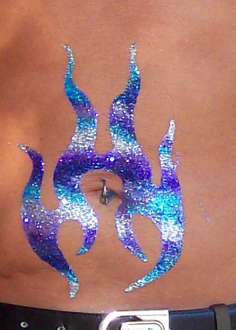 Brooks glitter belly tattoo