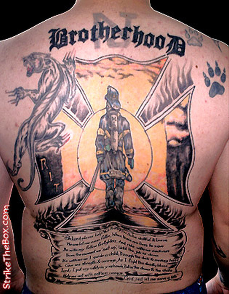 Brotherhood firefighter on back body tattoo