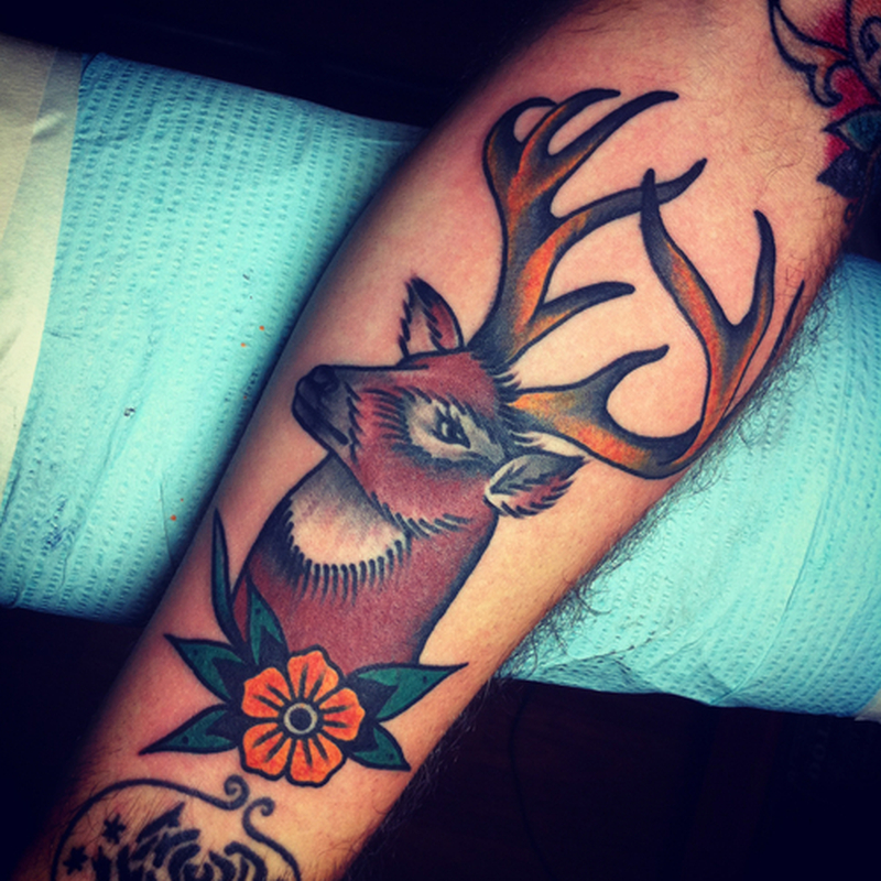 Brown ink deer tattoo design